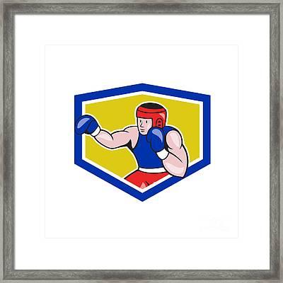 Amateur Boxer Boxing Shield Cartoon Framed Print