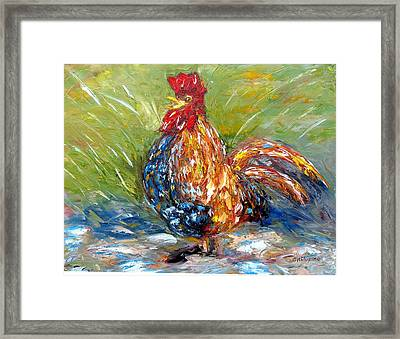 Amazed Rooster Framed Print