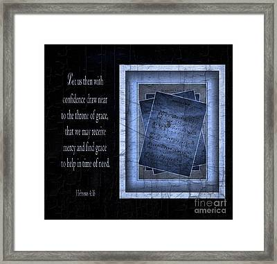 Amazing Grace In Blue With Scripture Framed Print by Julie Dant