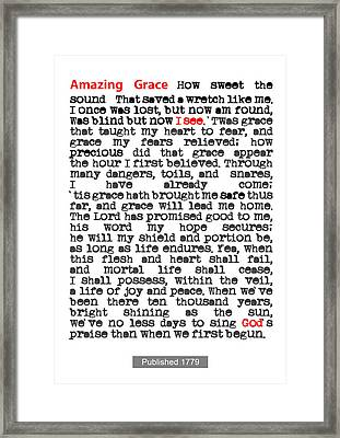 Amazing Grace Poster Framed Print by Nik Helbig