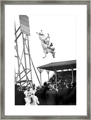 Amazing Horse Stunt Dive Framed Print by Underwood Archives