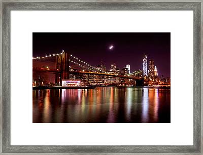 Framed Print featuring the photograph Amazing New York Skyline And Brooklyn Bridge With Moon Rising by Mitchell R Grosky