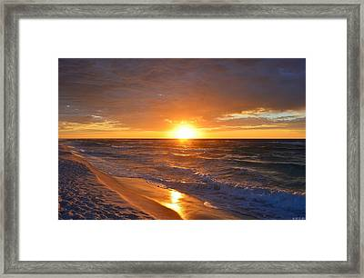 Amazing Sunrise Colors And Waves On Navarre Beach Framed Print by Jeff at JSJ Photography