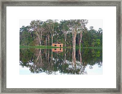 Amazon Reflections With Abandoned House Framed Print by Nareeta Martin