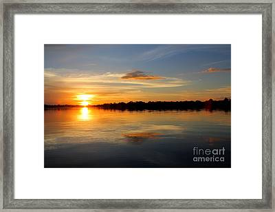 Framed Print featuring the photograph Amazon Sunset by Nareeta Martin