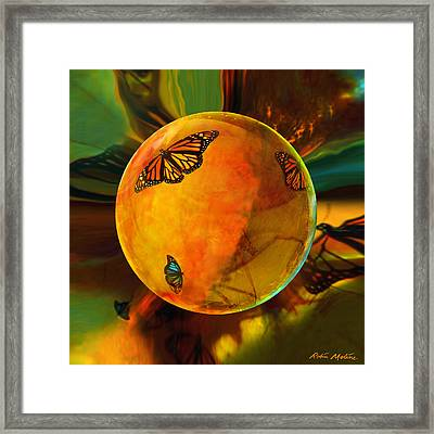 Ambered Butterfly Orb Framed Print by Robin Moline