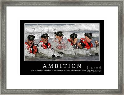Ambition Inspirational Quote Framed Print