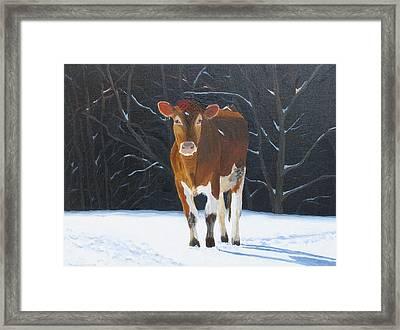 Ambling Through The Snow Framed Print