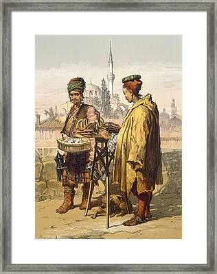 Ambulant Snack Sellers, 1865 Framed Print by Amadeo Preziosi