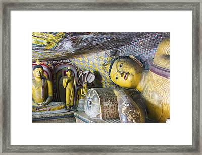 Dambulla Golden Temple  Cave No. 4 Framed Print by Maria Heyens
