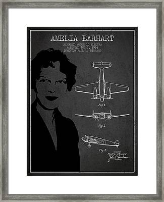Amelia Earhart Lockheed Airplane Patent From 1934 - Dark Framed Print by Aged Pixel
