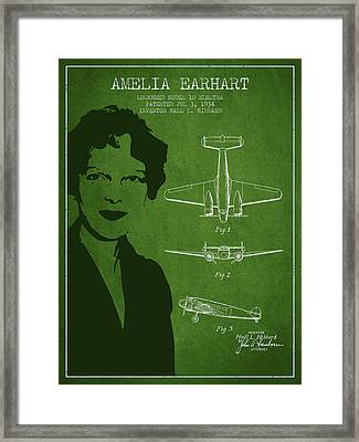 Amelia Earhart Lockheed Airplane Patent From 1934 - Green Framed Print by Aged Pixel