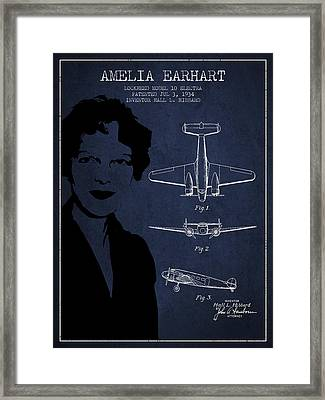 Amelia Earhart Lockheed Airplane Patent From 1934 - Navy Blue Framed Print by Aged Pixel