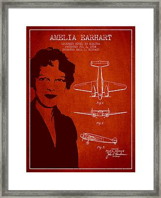 Amelia Earhart Lockheed Airplane Patent From 1934 - Red Framed Print by Aged Pixel
