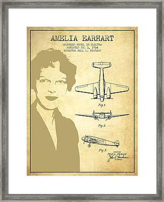 Amelia Earhart Lockheed Airplane Patent From 1934 - Vintage Framed Print by Aged Pixel