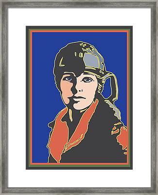 Amelia Earhart Portrait Framed Print
