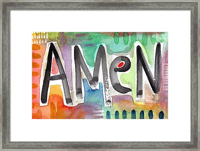 Amen- Colorful Word Art Painting Framed Print by Linda Woods