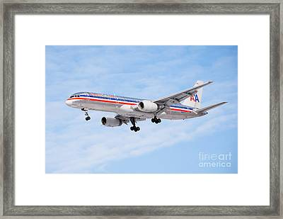 Amercian Airlines Boeing 757 Airplane Landing Framed Print by Paul Velgos
