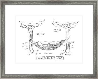 America Off-line Framed Print by Robert Mankoff