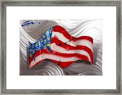 America Wave Framed Print by Mac Worthington