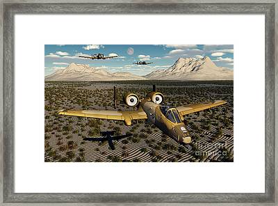 American A-10 Thunderbolts Flying Framed Print