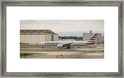 American Airliner On Runway At Lax In May 2014 Framed Print