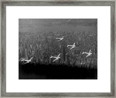 American Airlines Over Nyc Framed Print by Underwood Archives