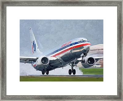 American Airlines Taking Off Framed Print by Nop Briex