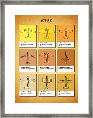American Airplane Patents Framed Print by Mark Rogan