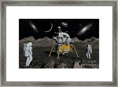 American Apollo Astronauts On The Lunar Framed Print by Mark Stevenson