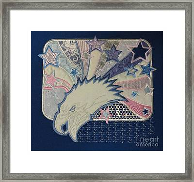 American Bald Eagle Embroidery Framed Print by Maestro