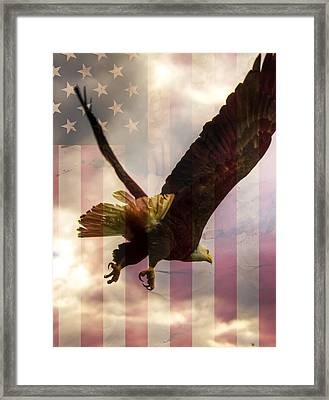 American Bald Eagle In Flight Wtih Flag Framed Print by Natasha Bishop