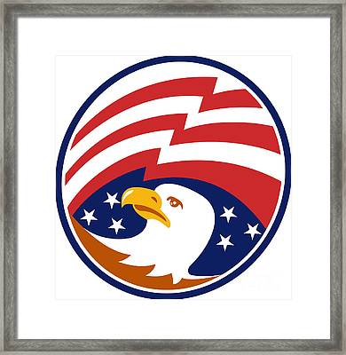 American Bald Eagle With Flag Framed Print by Aloysius Patrimonio