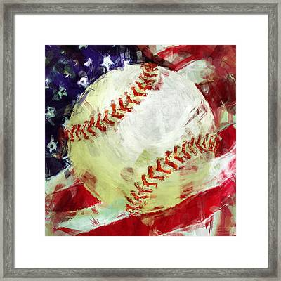 American Baseball Abstract Framed Print