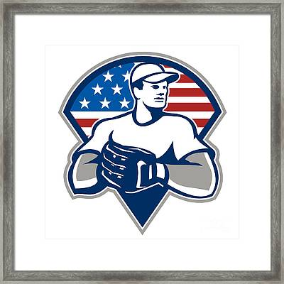 American Baseball Pitcher Gloves Retro Framed Print by Aloysius Patrimonio