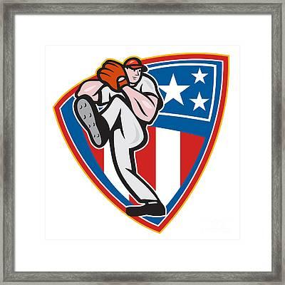 American Baseball Pitcher Shield Framed Print by Aloysius Patrimonio