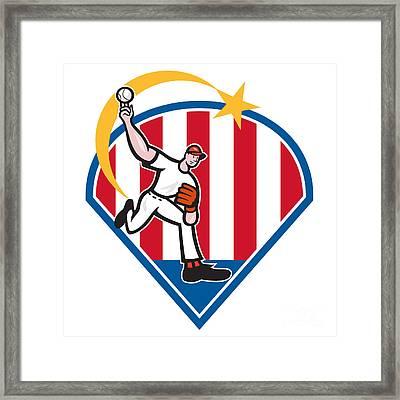 American Baseball Pitcher Star Framed Print by Aloysius Patrimonio