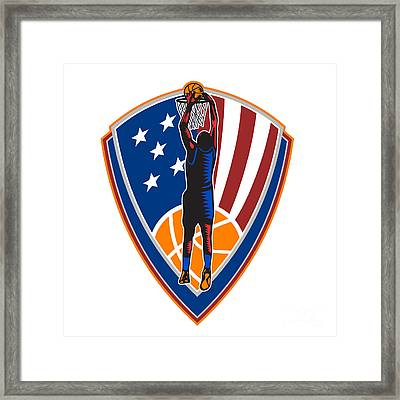 American Basketball Player Dunk Ball Shield Retro Framed Print
