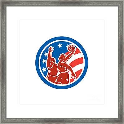 American Basketball Player Dunk Block Circle Retro Framed Print by Aloysius Patrimonio