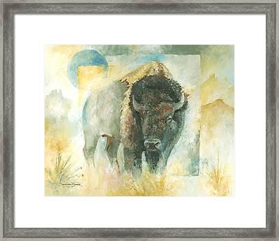 American Bison Buffalo Bull Framed Print by Christiaan Bekker
