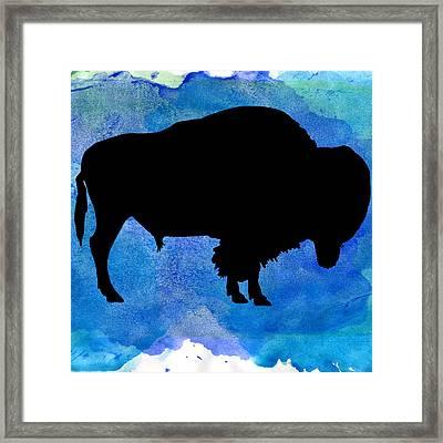 American Bison In Watercolor Framed Print