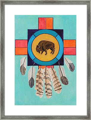 American Bison Dreamcatcher Framed Print