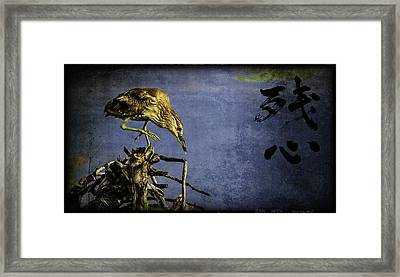 American Bittern With Brush Calligraphy Lingering Mind Framed Print