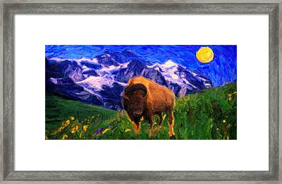 American Buffalo In The Wild West Framed Print by Celestial Images