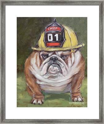 American Bulldog Fireman Framed Print