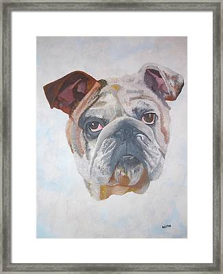 Framed Print featuring the painting American Bulldog Pet Portrait by Tracey Harrington-Simpson