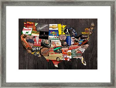 American Car State Map An Automotive History Love Affair Usa Framed Print by Design Turnpike