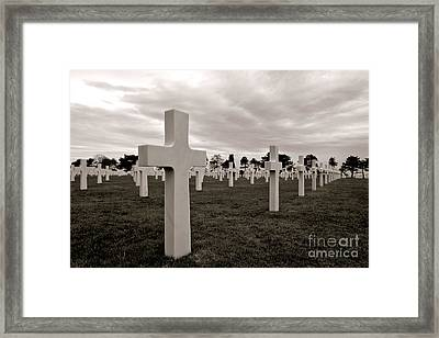 Framed Print featuring the photograph American Cemetery In Normandy  by Olivier Le Queinec