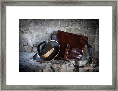 American Civil War Hat And Sack Framed Print