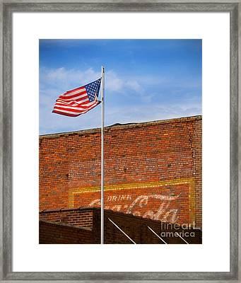 American Classics - Flag And Coke Framed Print